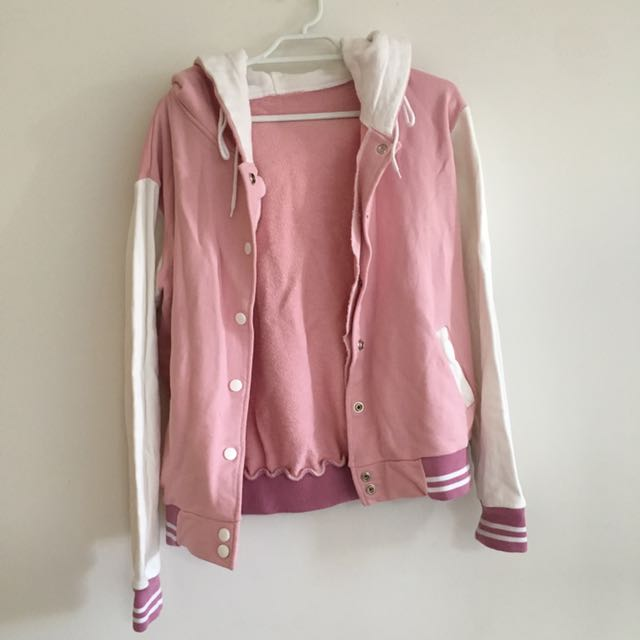Pink Varsity Style Jacket With Hood