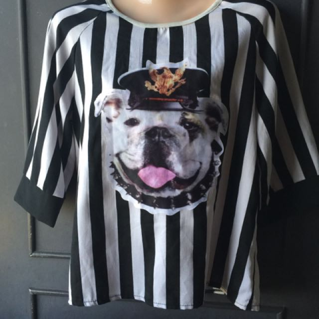 Stripe TOP With Dog Image