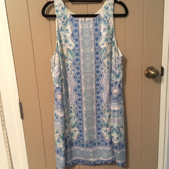 Summer Dress Blue Patterned