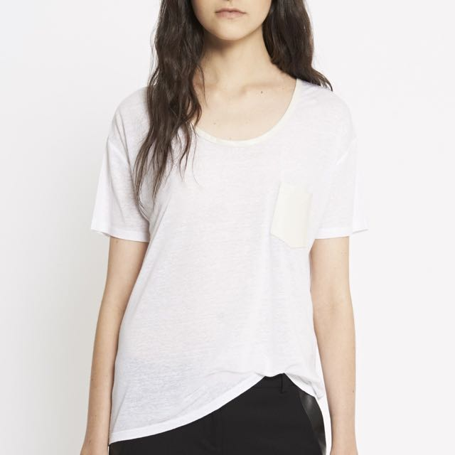 The Kooples $125 White Leather Accent Linen Tee
