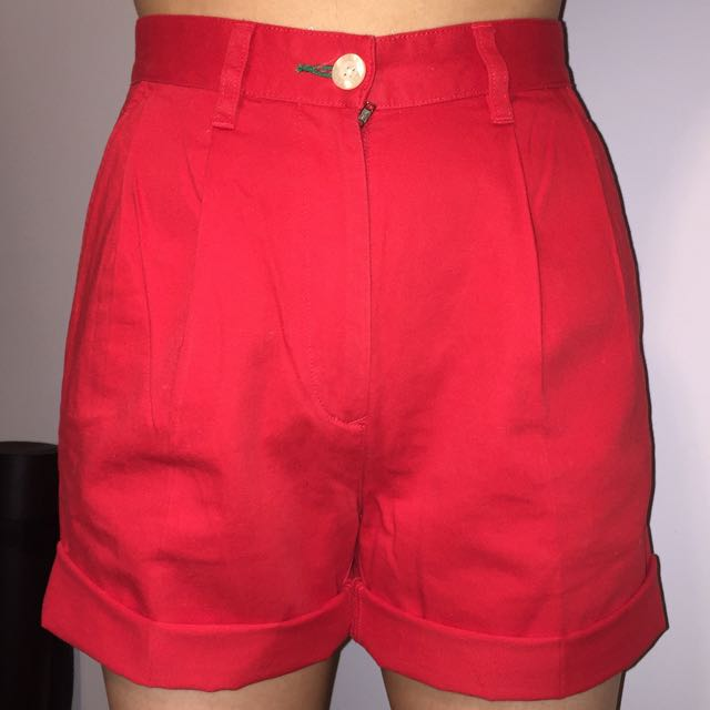 Tommy Hilfiger Red High Waist Shorts