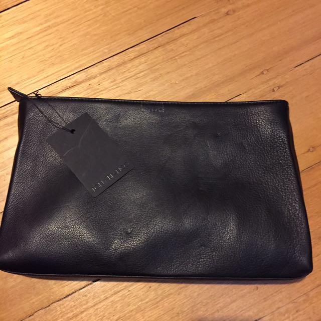 Tony Bianca Black Leather Clutch