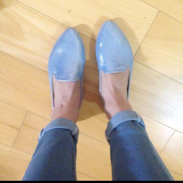 🈹Undress 軟皮亮面樂福鞋 藍37