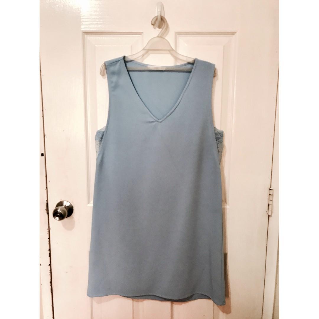 Used Mango Powder Blue Sleeveless Dress