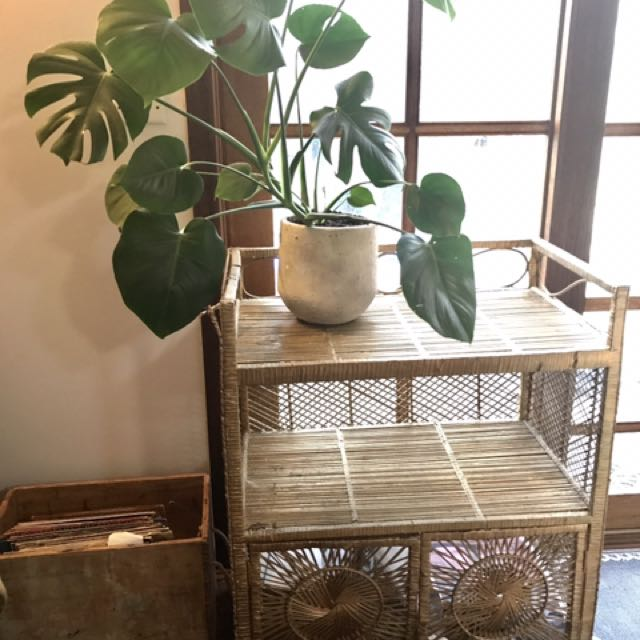 Vintage Cane Shelf With Two Opening Doors