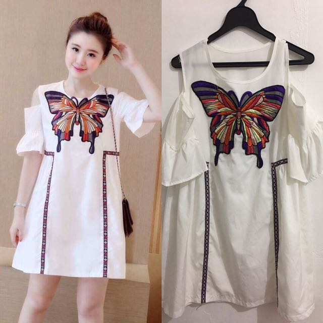 White Dress With Butterfly Design