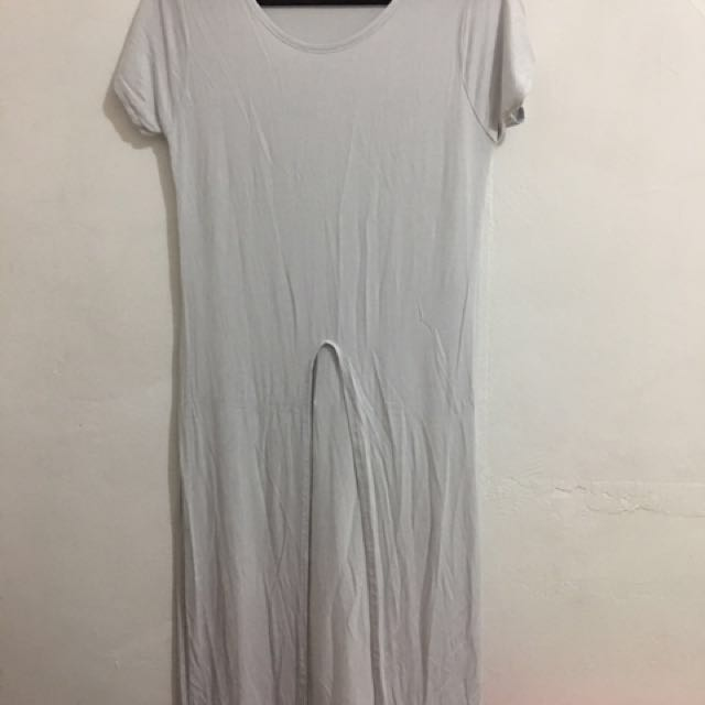 White Long Blouse with Front Slit