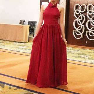 Maroon Tailored Long Gown