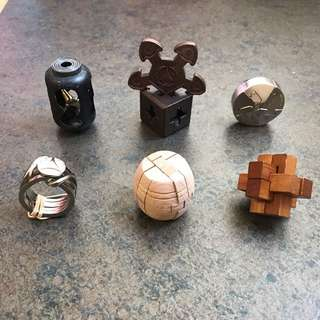 6 Wooden And Metal Puzzles