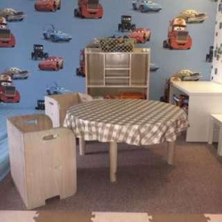 Meja-Kursi-Rak Mainan untuk Anak