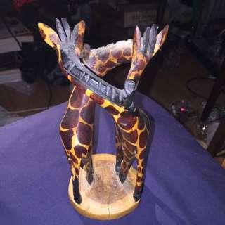 Hand Craved Two Giraffe Figurine