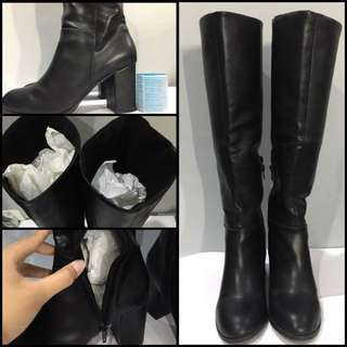 (REPRICE,SALE!) Zalora High Knee Boots With Heels (winter Shoes)