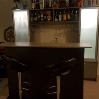 Home Bar with display and stools