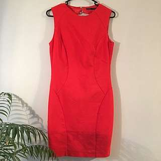 Orange Zara Cut Out Back Dress