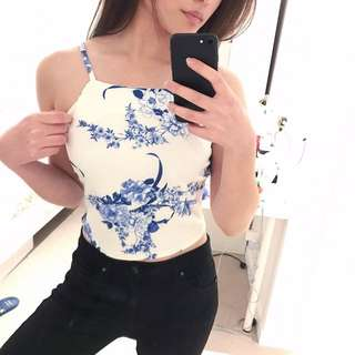 White Halter Floral Crop Top