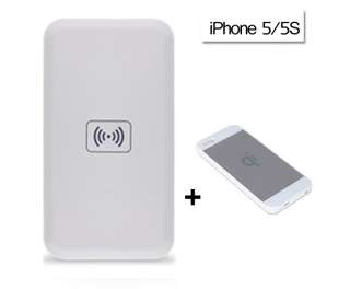 QI Wireless Charger Power Bank Charging Pad + Receiver for iPhone 5/5S/5C White