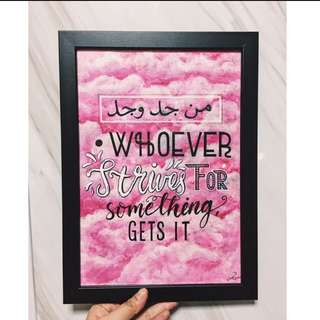 Handwritten quotes on frame
