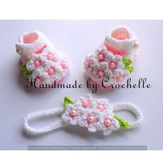 crochet baby flower shoes with headband