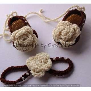 Crochet baby ballerina with headband