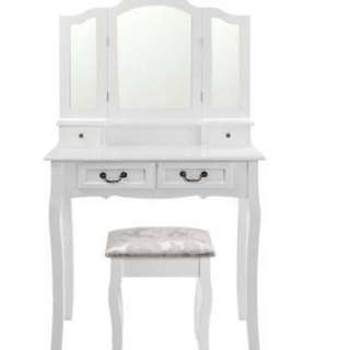 NEW - IN BOX - WHITE DRESSING TABLE WITH MATCHING STOOL - INCLUDING SHIPPING