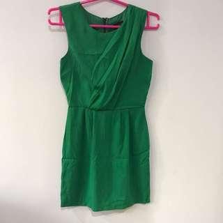 Worn Once TOPSHOP Green Dress UK6
