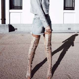 Billini Style Thigh High Lace Up Nude Boots Sz 38