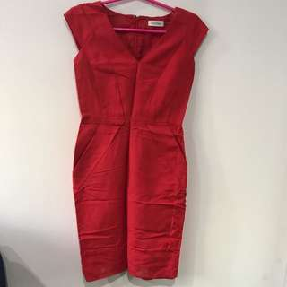 Pre-owned CALVIN KLEIN Red Dress US2