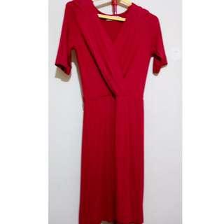 Calypso Red body hugging dress