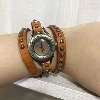 Tan Studded Antique Watch