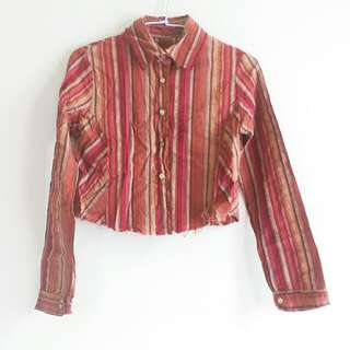 🚚 《古著》條紋短版襯衫罩衫