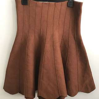 Brown Scallop Hem Skirt