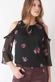 Dynamite Cold Shoulder Floral Blouse