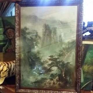 Antique Vintage Chinese Feng Shui Mountain Scenery With Frame And Signature