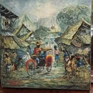 Kampung Life Oild Painting On Canvas Very Thick Oil Paint.. Amazing Art