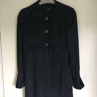 CUE Black Coat With Gold Buttons Size 6