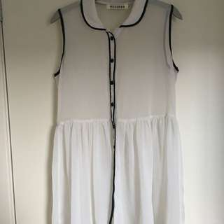 MOSSMAN Sheer Cream Button Through Dress Size 8
