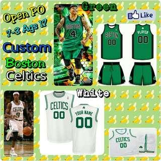 Open PO Jersey Basket Custom Anak&Dewasa Boston Celtics Green&White