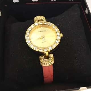 韓國 STACCATO  晶鑽時尚細帶手錶 腕錶 鍊錶
