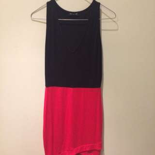 PrettyLittleThing Black And Red Low Cut Mini Dress