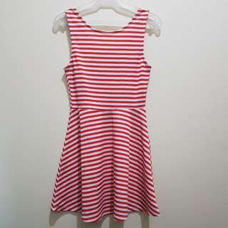 H&M Divided | Red And White Stripes Skater Dress V-Back