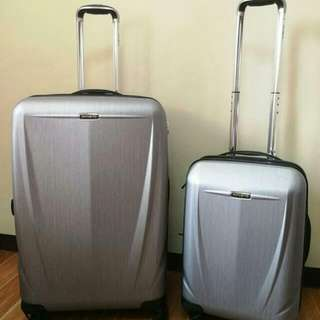 Authentic Samsonite 2pc Luggage Sold as a set  Selling at a VERY LOW PRICE  Php 16K Two luggage: 50.8cm and 71.1cm Used only ONCE when I check-in in Makati Good as new With original box and manual instructions