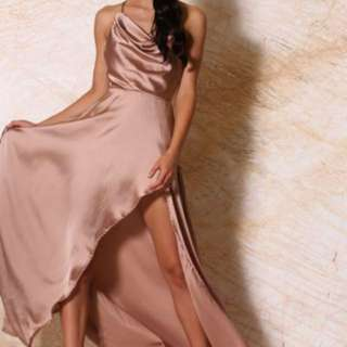 Meshki Freida satin Drape Neck Maxi Dress