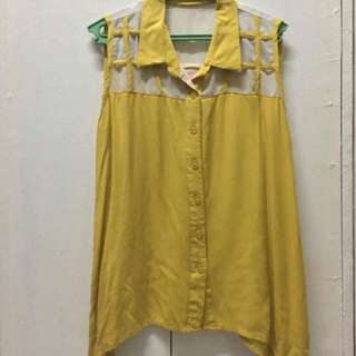 Crissa Collared Sleeveless Blouse (Yellow)