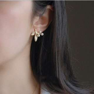 飾🌱Vintage複古優雅珍珠金葉耳環