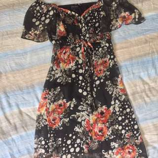Black Floral Outdoor Dress
