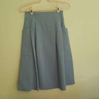 全新 正韓 有標 氣質文青口袋造型修身中長裙 藍色