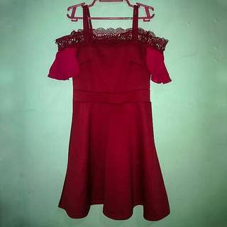 Off shoulder Red Dress with lace