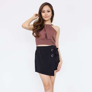 O Ring Asymmetrical Skort - Black