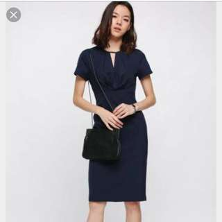 LB Romilly Ruched Midi Dress Navy XS