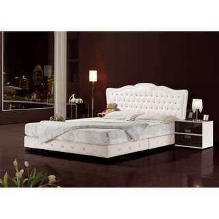 【南洋風休閒傢俱】 床台系列 - 5尺依蕾特床頭片+床底(不含床頭櫃/床墊) 雙人水鑽床架 台灣製 可訂做JH442-4